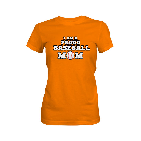 Proud Baseball Mom T Shirt Classic Orange