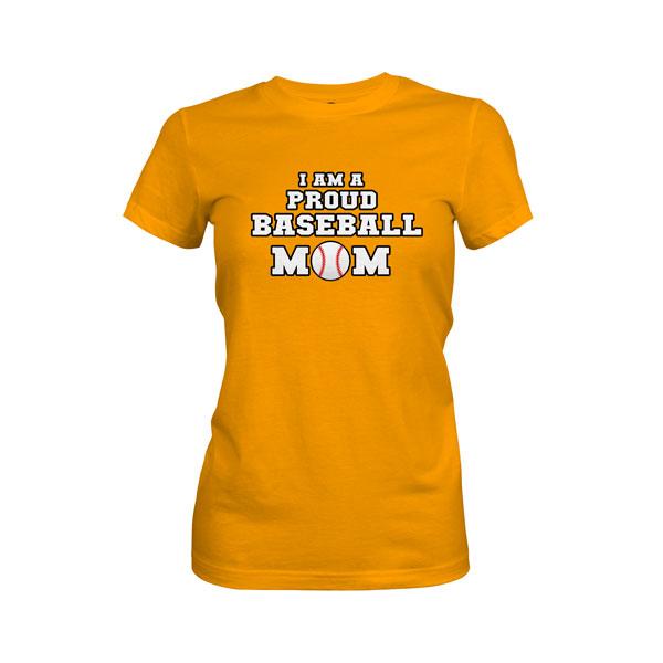 Proud Baseball Mom T Shirt Gold