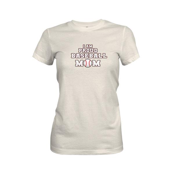 Proud Baseball Mom T Shirt Ivory