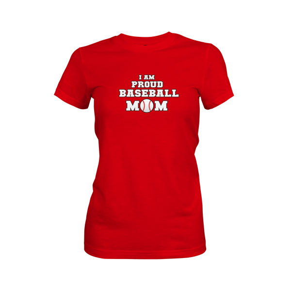 Proud Baseball Mom T Shirt Red