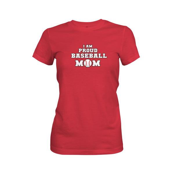 Proud Baseball Mom T Shirt Scarlet