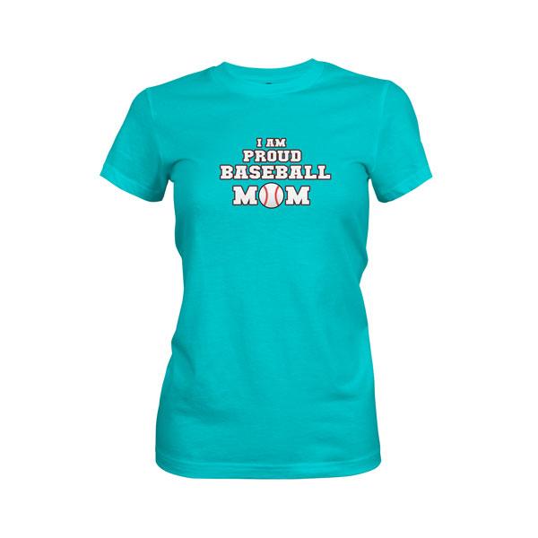 Proud Baseball Mom T Shirt Tahiti Blue