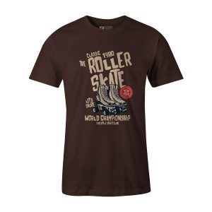 Roller Skate T Shirt Brown