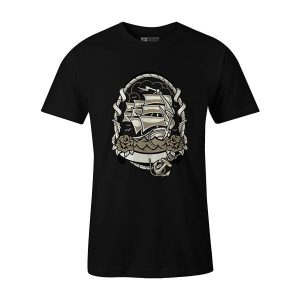 Ship Anchored T Shirt Black