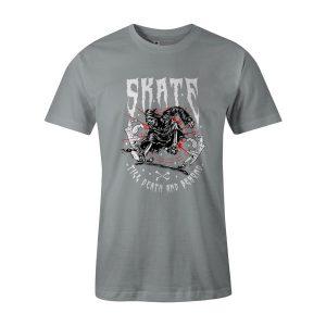 Skate Till Death T Shirt Silver