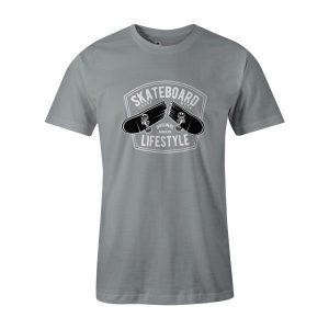 Skateboard Lifestyle T Shirt Silver