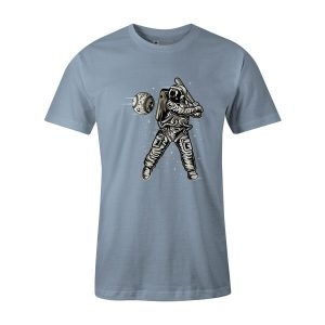 Space Baseball T Shirt Baby Blue