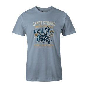 Start Strong T Shirt Baby Blue