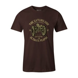 The Gatling Gun T Shirt Brown