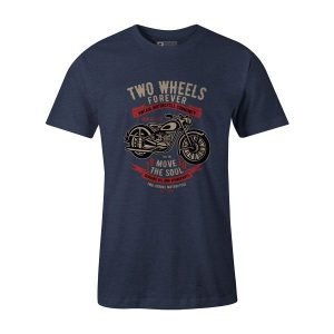 Two Wheels Forever 30 T Shirt Heather Denim