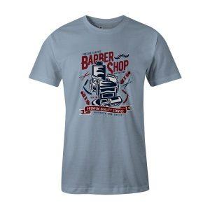 Vintage Barber Shop T Shirt Baby Blue