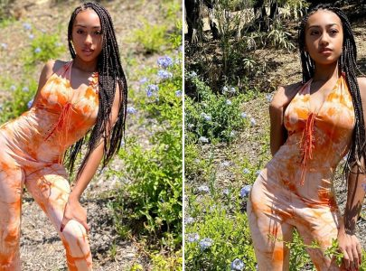 Lexi Underwood Takes Tie-Dye to the Ultimate Level With Her Tangerine Jumpsuit